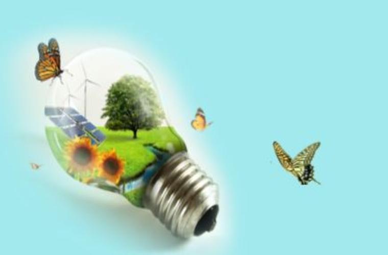 Enerji Verimliliği Konulu Ödüllü Öykü Yarışması görseli. Görselde ampul içerisinde yeşil güzel bir manzara var. Güzel duygular uyandıran canlılarla dolu bir resim.