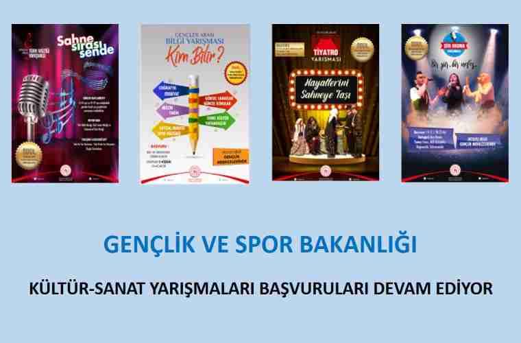 Gençler Arası Kültür ve Sanat Yarışmaları duyuru görselidir. Ekranda 4 farklı yarışmaya ait afişler görülmektedir.