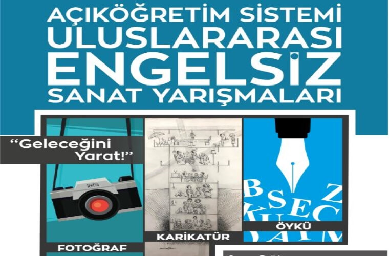 Uluslararası Engelsiz Açıköğretim Karikatür Yarışması görselidir. Görselde 3 parça şeklinde fotoğraf makinası, karikatür çizimi ve kalem simgeleri görünmektedir. Ayrıca mavi fon üzerinde yarışma adı yazmaktadır.