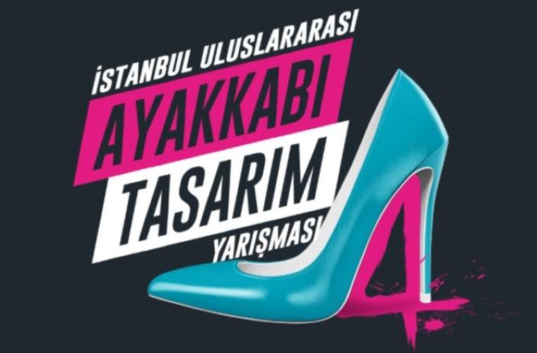 İstanbul Uluslararası Ayakkabı Tasarım Yarışması 2020 görselidir. Görselde yarışma adı ve bir kadın ayakkabısı çizimi vardır.