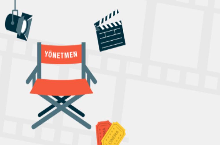 Kamera Elinde Geleceğin Cebinde Kısa Film Yarışması görselidir. Görselde yönetmen koltuğu, ışık ve filme ekipmanları görünüyor.