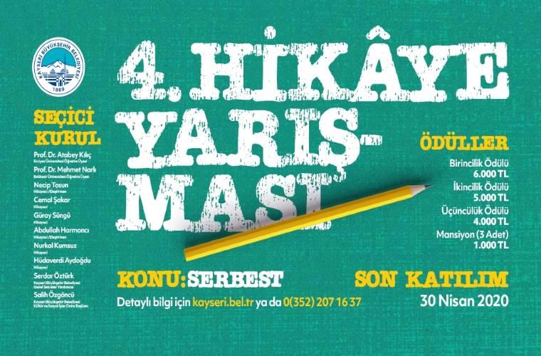 Kayseri Büyükşehir Belediyesi Hikaye Yarışması duyuru görselidir. Görselde yeşil fon üzerinde bir kalem yer almakta ve yarışma bilgileri bulunmaktadır.