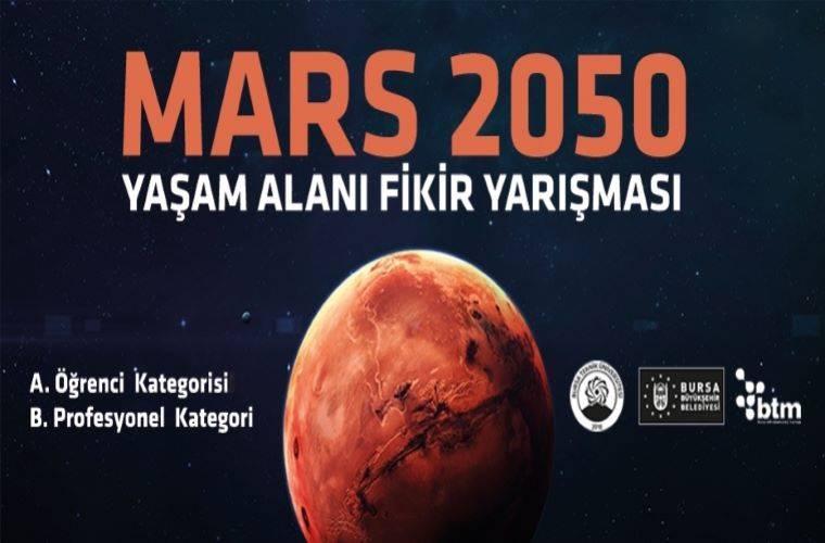 Mars 2050 Yaşam Alanı Fikir Yarışması duyuru görselidir. Görselde karanlık fonda kızıl gezegen mars görülmektedir.