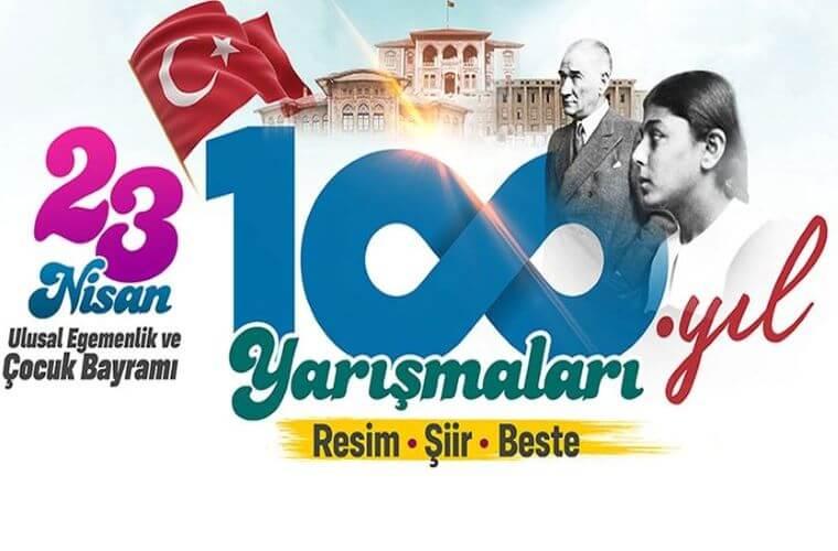 100. Yıl Şiir Yarışması duyuru görselidir. Görselde TBMM ve Mustafa Kemal Atatürk'ün fotoğrafları yer almaktadır. Ayrıca 100 rakamı yazılırken 00 lar yerine sonsuzluk ifadesi bırakılmıştır.