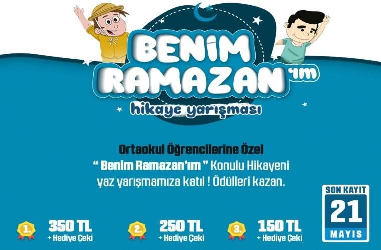 Benim Ramazanım Hikaye Yarışması duyuru görselidir. Görselde neşeli iki çocuk çizimi görülmekte ve yarışma bilgileri yer almaktadır.
