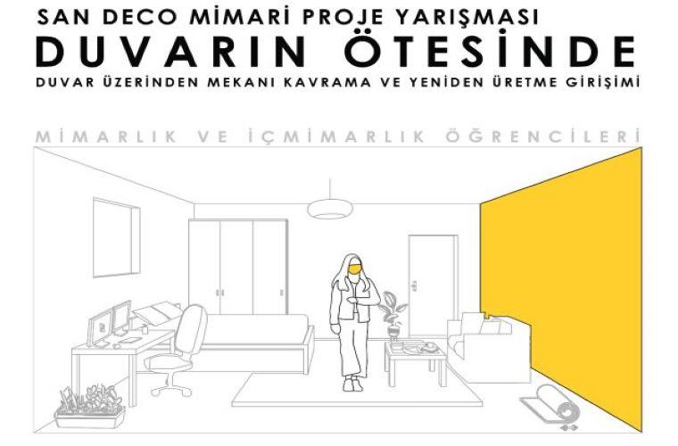 Duvarın Ötesinde Mimari Proje Yarışması duyuru görselidir. Görselde duvarı ortadan kalkmış bir ev görselinin çizimi görülmektedir.