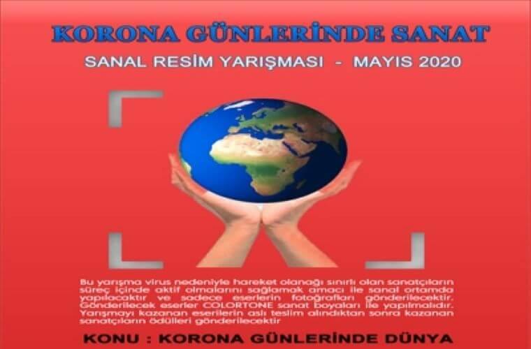 Korona Günlerinde Sanat Sanal Resim Yarışması duyuru görselidir. Kırmızı fonda ellerin üstünde tutulan dünya görülmektedir.