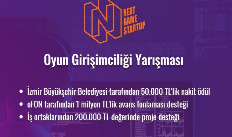 Next Game Startup Oyun Girişimciliği Yarışması duyuru görselidir. Mor fon renk üzerinde yarışma adı ve ödülleri belirtilmektedir.