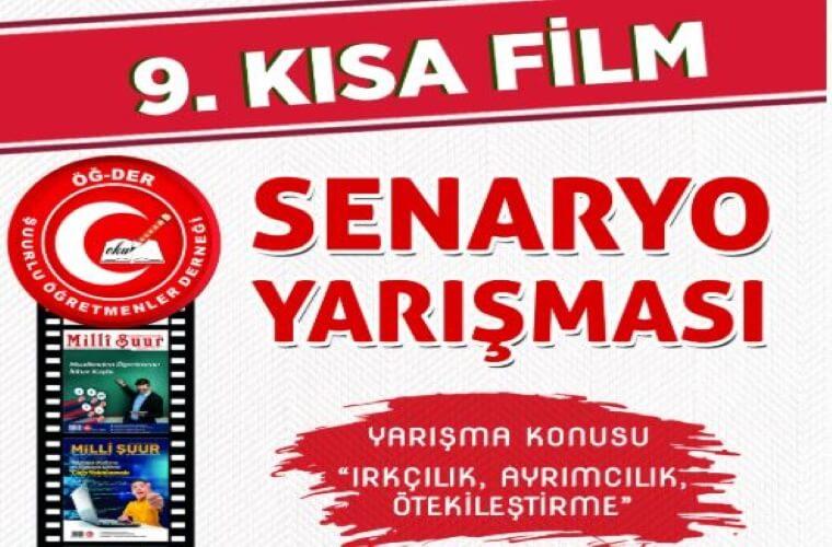 ÖGDER 9. Kısa Film Senaryo Yarışması duyuru görselidir. Görselde kırmızı şeritlerin üzerinde yarışma adı yazmakta ve film şeritlerinde görsel şeritler gösterilmektedir.