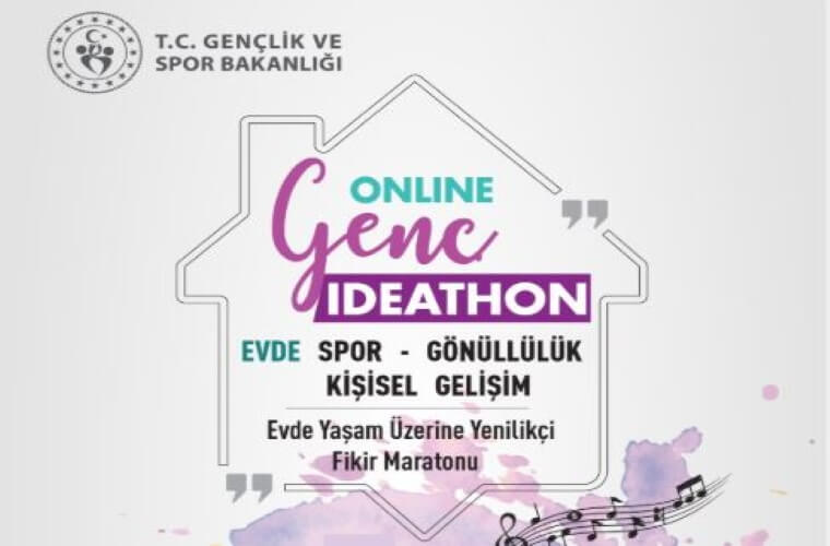 Online Genç İdeathon Yarışması duyuru görselidir. Görselde bir ev çizimi vardır ve evin içerisine yarışma adı ve kategorileri yazılmıştır.