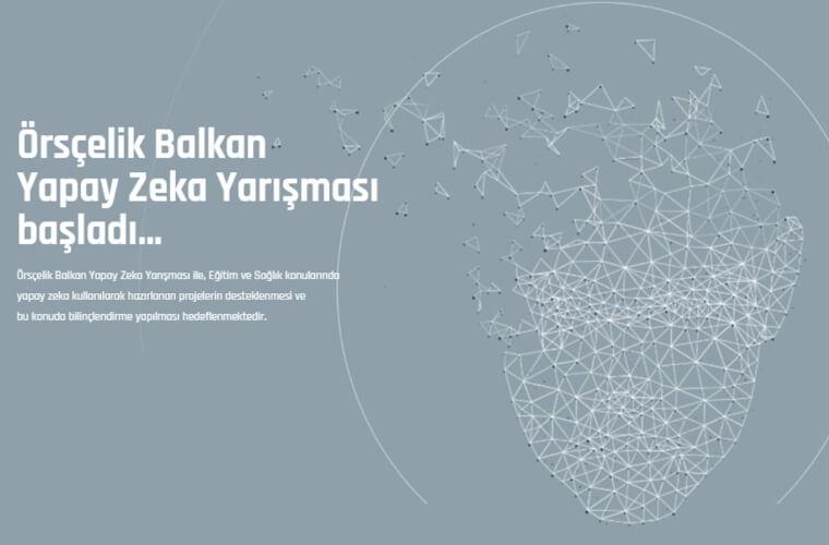 Örsçelik Balkan Yapay Zeka Yarışması duyuru görselidir. Gri fon üzerinde yapay zeka temali çağrışımlar yer almaktadır.