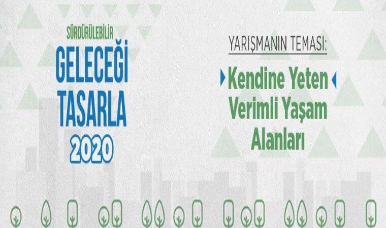 Sürdürülebilir Geleceği Tasarla Yarışması 2020 duyuru görselidir. Görselde yeşil ve temiz alanlar görülmektedir.