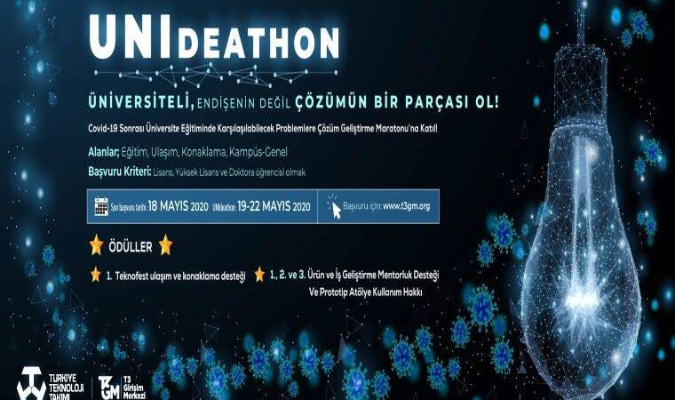 UNIdeathon Yarışması duyuru görselidir. Koyu mavi ve siyah arası bir fonda ışık saçan bir ampul yer almakta ve yarışma bilgileri bulunmaktadır.