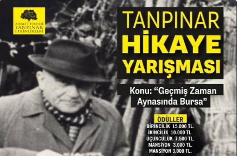 Tanpınar Hikaye Yarışması duyuru görselidir. Görselde Ahmet Hamdi Tanpınar'a ait bir fotoğraf ve yarışma bilgileri yer almaktadır.