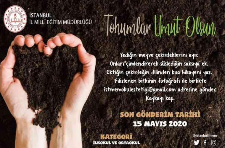 Tohumlar Umut Olsun Yarışması görselidir. Görselde avuç içine alınmış toprak var ve yarışma bilgileri yer alıyor.
