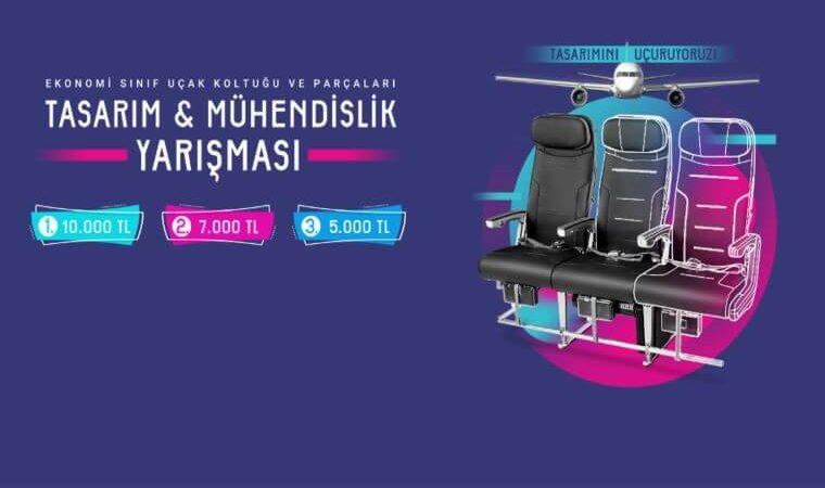 Uçak Koltuk ve Parçaları Tasarım Yarışması görselidir. Görselde uçak koltukları görülmekte ve yarışma ödüllerinin miktarı yer almaktadır.