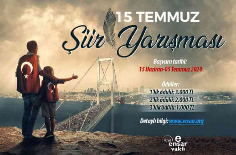 15 Temmuz Şiir Yarışması duyuru görselidir. Görselde 15 Temmuz Şehitler Köprüsüne doğru bakan sırtında Türk Bayrağı olan baba ve çocuğu yer almaktadır ve yarışma bilgileri bulunmaktadır.
