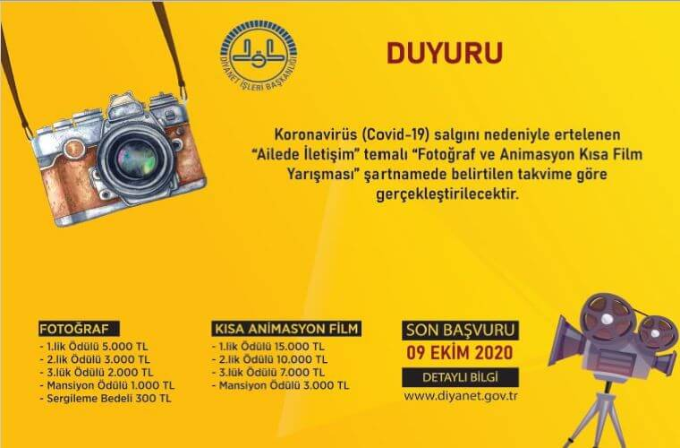 Ailede İletişim Temalı Animasyon Kısa Film Yarışması duyuru görselidir. Görselde sarı fonda fotoğraf makinası ve eski tip kamera görülmektedir.