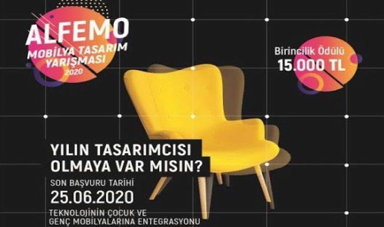 Alfemo Tasarım Yarışması duyuru görselidir. Görselde siyah fon üzerinde sarı bir tekli kolruk görülmektedir. Ayrıca yarışma bilgileri yazmaktadır.