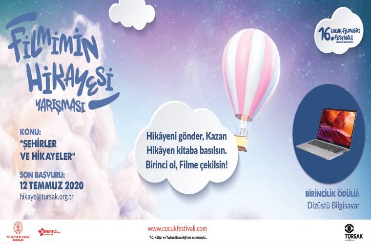 Çocuk Filmleri Festivali Filmimin Hikâyesi Yarışması duyuru görselidir. Görselde renkli bir fonda uçan hava balonu görülmekte ve yarışma bilgileri yer almaktadır.