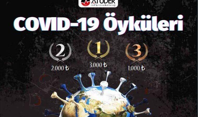 Covid-19 Öyküleri Öykü Yarışması duyuru görselidir. Görselde virüs şekline bürünmüş Dünya görülmekte ve yarışma ödüllerinin miktarı yazmaktadır.