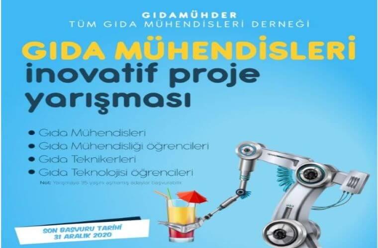 Gıda Mühendisleri İnovatif Proje Yarışması duyuru görselidir. Görselde içecek sunan bir robot kolu vardır. Ayrıca yarışma bilgileri yer almakta.