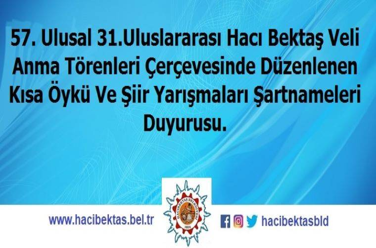 Hacıbektaş Belediyesi Kısa Öykü Yarışması duyuru görselidir. Mavi bir fonda yarışma adı yazmaktadır.