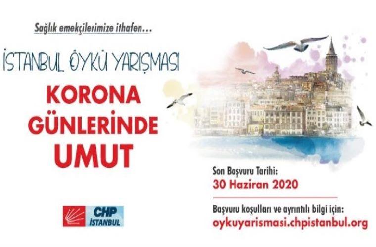 Korona Günlerinde Umut İstanbul Öykü Yarışması duyuru görselidir. Görselde bir ev silüeti görülmekte ve yarışma bilgileri yer almaktadır.