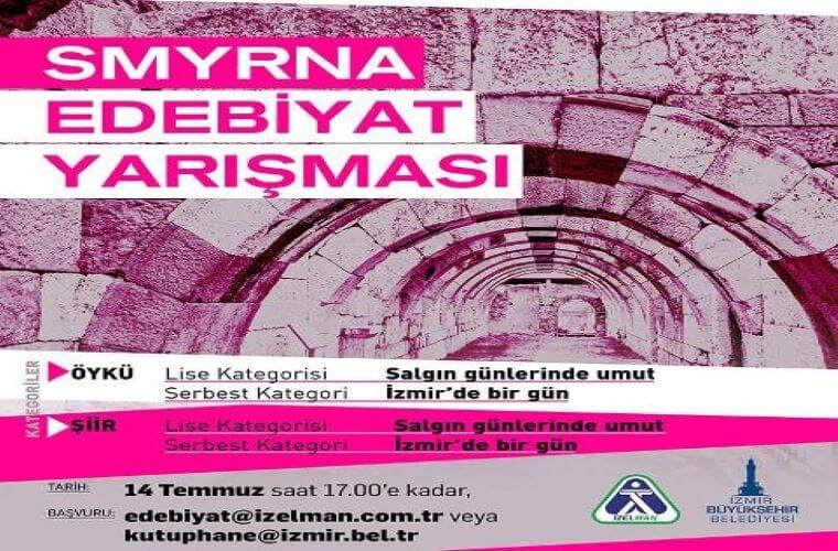 İzmir Büyükşehir Belediyesi Smyrna Edebiyat Yarışması duyuru görselidir. Görselde tarihi bir mekanın kemerleri görülmekte ve yarışma bilgileri yazmaktadır.