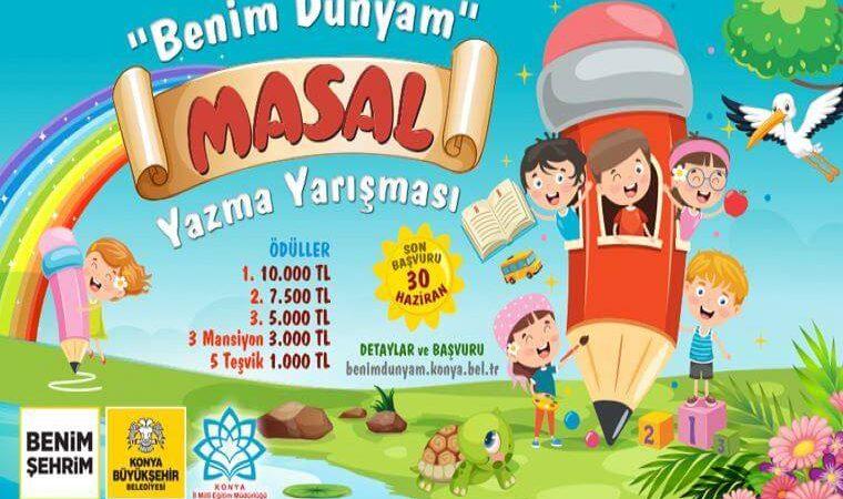 Konya Büyükşehir Belediyesi Benim Dünyam Masal Yarışması duyuru görselidir. Görselde renkli bir masal dünyası, yeşil alan, gökkuşağı, mavi gökyüzü görülmektedir. Ayrıca bir kalem var ve çocuklar kaleme tırmanmıştır.