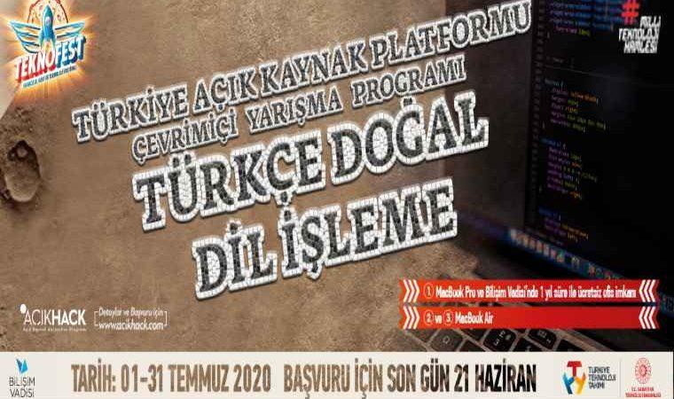 Türkçe Doğal Dil İşleme Online Yarışması duyuru görselidir. Görselde TEKNOFEST görünürlük unsurlarının ortasında yarışma adı yazmaktadır.