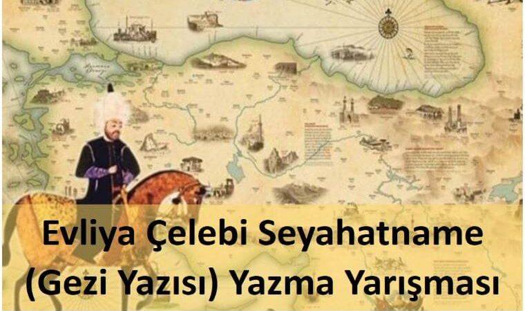 Evliya Çelebi Seyahatname (Gezi Yazısı) Yazma Yarışması duyuru görselidir. Görselde Evliya Çelebi'nin at üzerinde Anadolu topraklarında gezdiği gravürü resmedilmiştir.