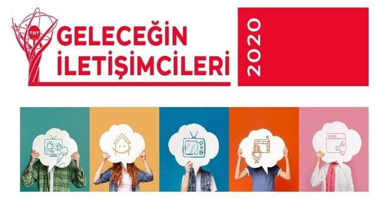TRT Geleceğin İletişimcileri Yarışması duyuru görselidir. Görselde renkli kareler içerisinde iletişim araçları ikonları tutan gençlere ait eller görülmektedir.