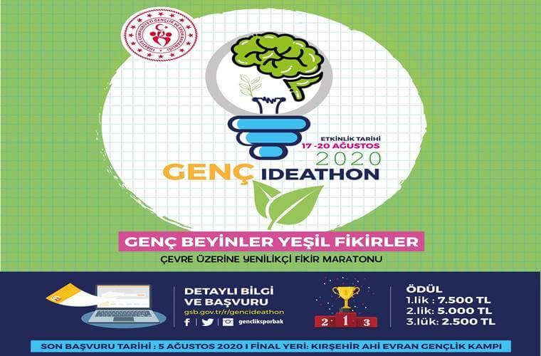 Genç İdeathon Yarışması duyuru görselidir. Görselde yeşil zemin üzerinde bir ampul görülmekte. Ampulün içinde beyin yer almakta. Ayrıca yarışma bilgileri görselde yer almaktadır.