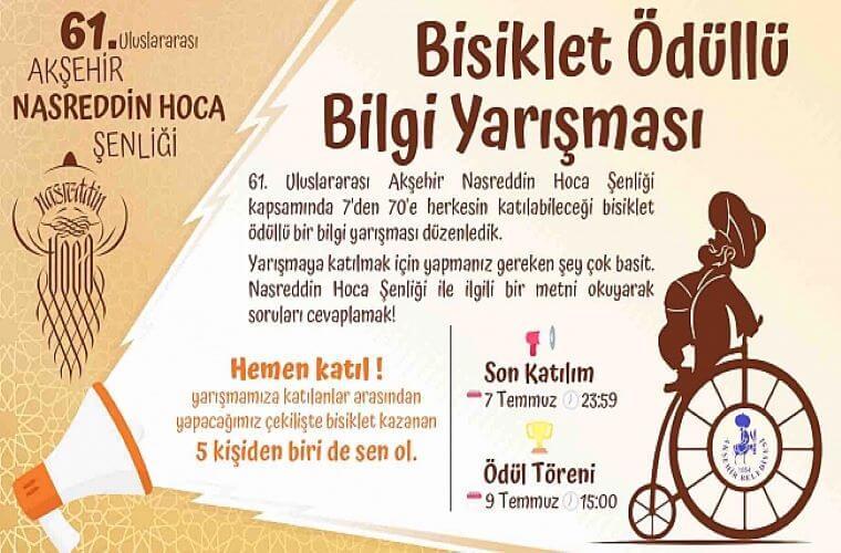 Nasreddin Hoca Şenliği Bisiklet Ödüllü Bilgi Yarışması duyuru görselidir. Görselde Nasreddin Hoca bisiklete ters binmiş şekilde görülmektedir. Ayrıca yarışma bilgileri yer almaktadır.