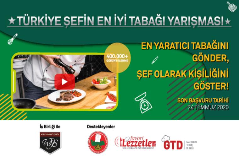 Türkiye Şefin En İyi Tabağı Yarışması duyuru görselidir. Görselde yeşil bir zeminde yarışma bilgileri görülmektedir.