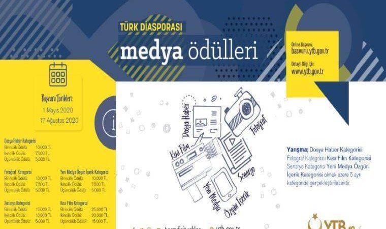 """YTB """"Türk Diasporası Medya Ödülleri"""" Dosya Haber Yarışması duyuru görselidir."""