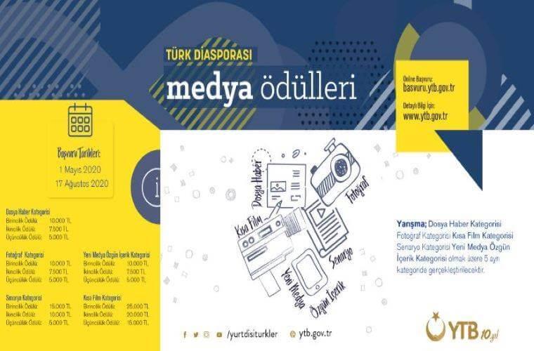 """YTB """"Türk Diasporası Medya Ödülleri"""" Yeni Medya Yarışması duyuru görselidir."""