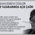 Attilâ İlhan Edebiyat Ödülleri Yarışması duyuru görselidir. Görsel de Attila İlhan'a ait bir fotoğraf yer almakta ve yazarlara çağrı metni bulunmaktadır.