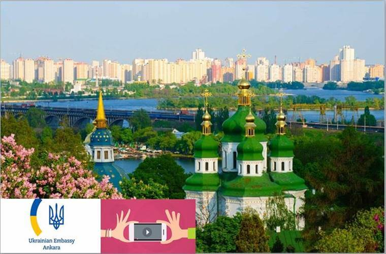 Ukrayna Büyükelçiliği Video Yarışması duyuru görselidir. Görselde Ukrayna'ya ait bir manzara yer almaktadır.