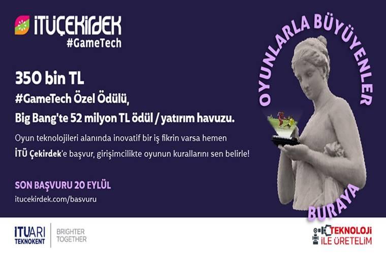 İTÜ Çekirdek GameTech Oyun Girişimciliği Yarışması duyuru görselidir. Koyu renk üzerindeki görselde elinde telefonla oyun oynayan bir eski tarih heykeli görülmektedir.