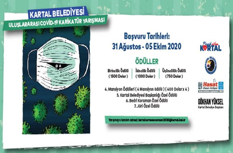 Kartal Belediyesi Uluslararası Covid-19 Karikatür Yarışması duyuru görselidir. Görselde maske ve virüs görselleri görülmektedir.