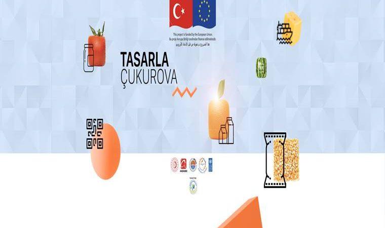 Tasarla Çukurova Tasarım Odaklı Yenilik Yarışması 2020 duyuru görselidir. Görselde çukurova bölgesine ait buğday, portakal gibi ürünlerin paketlenmesine yönelik temsili görseller yer alıyor.