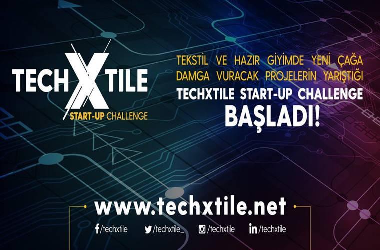 TECHXTILE Start-Up Challenge Yarışması duyuru görselidir. Görselde inovasyonu çağrıştıran tasarım çizgileri yer almakta ve yarışma bilgileri yazmaktadır.