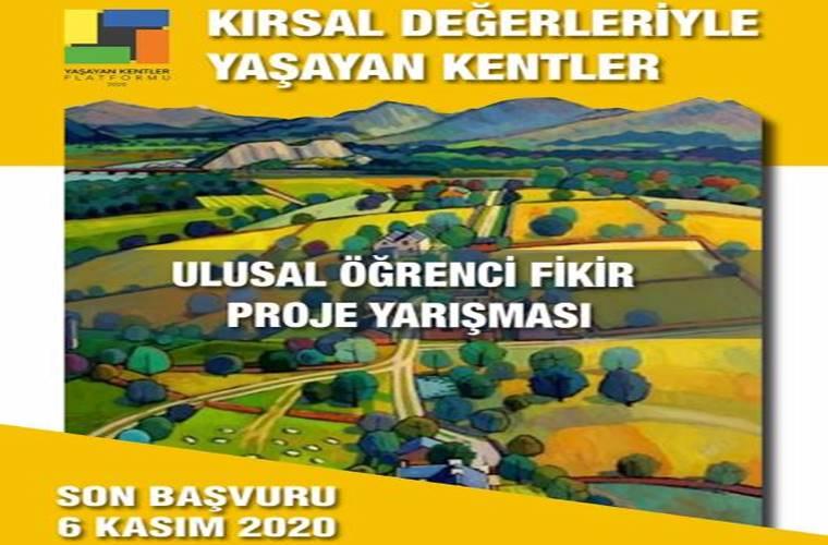 Ulusal Öğrenci Proje Fikri Yarışması duyuru görselidir. Sarı çerçeveli resimde doğal alanlar görülmektedir.