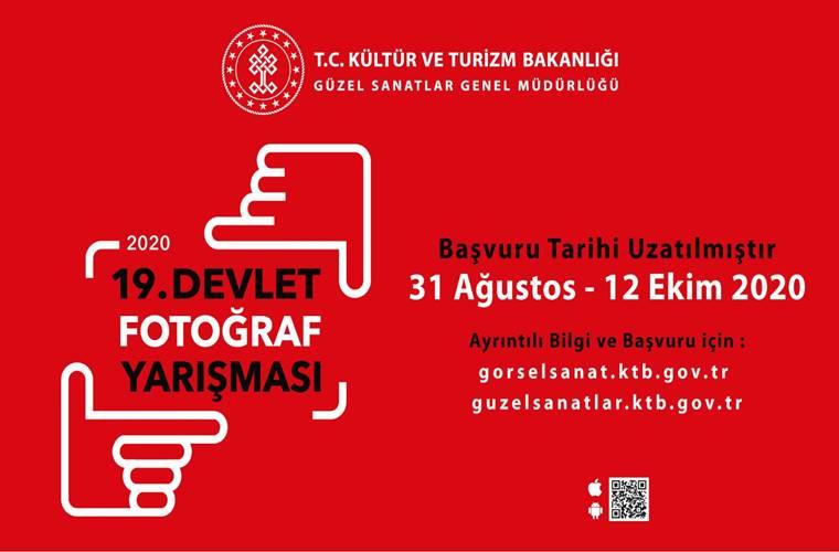19. Devlet Fotoğraf Yarışması duyuru görselidir. Görselde kırmızı fonda eliyle kadraj işareti yapan ikonlar görülmekte.