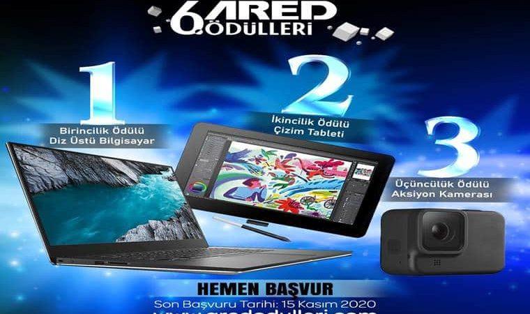 Görselde mavi fon üzerinde 6. ARED Ödülleri yazmaktadır. 1. Laptop, 2. tablet, 3. kamera görselleri bulunmaktadır.