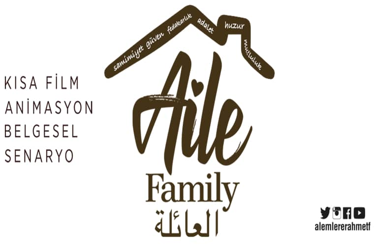 Alemlere Rahmet Uluslararası Kısa Film Yarışması duyuru görselidir. Görselde ev görünümünde yazılmış AİLE kelimesi yer almaktadır.