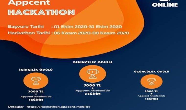 Appcent Hackathon Yarışması duyuru görselidir. Mavi turuncu renklerin kullanıldığı görselde yarışma adı ve bilgilerine yer verilmiştir.