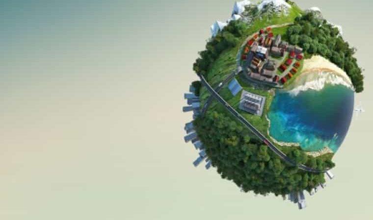 Gri fon üzerinde yeşillikler içinde yuvarlak dünya resmi görülmektedir.